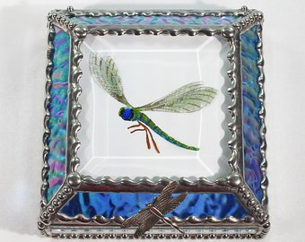 Dragonfly, Hand Painted, Stained Glass, Keepsake Box,Jewelry Box, Faberge Style, Treasure Box