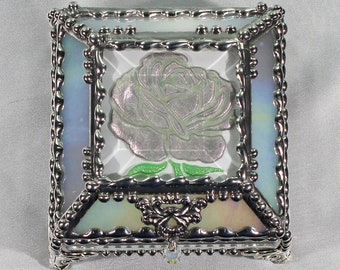 Roses, Hand Painted, Stained Glass, Beveled Glass, Keepsake Box,Jewelry Box, Faberge Style, Made in USA