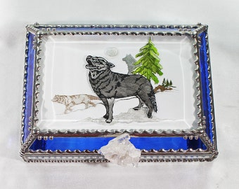 Wolf, Hand Painted, Stained Glass, Keepsake Box,Jewelry Box, Faberge Style, Treasure Box