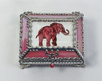 Elephant, Hand Painted, Stained Glass Box, Trinket Box, , Etched, Faberge Style