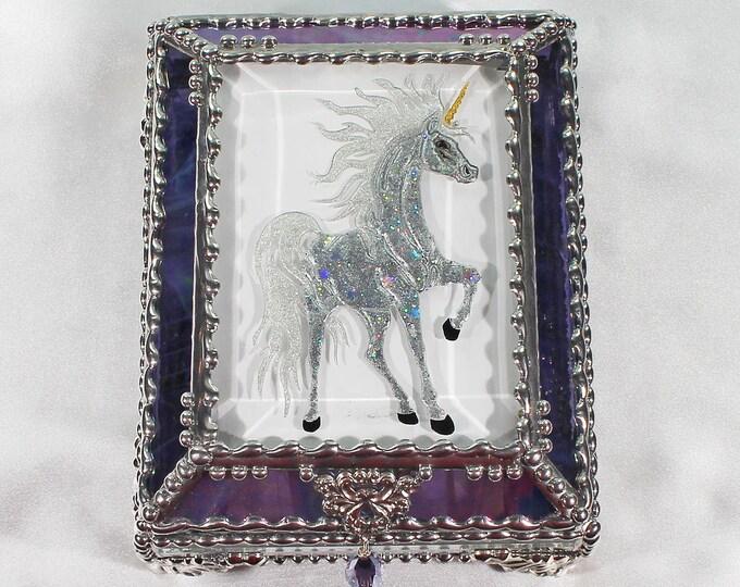 Unicorn, Horse, Equine, Treasure Box, stained glass box, stained glass, display box, jewelry box, , souvenir, mystic