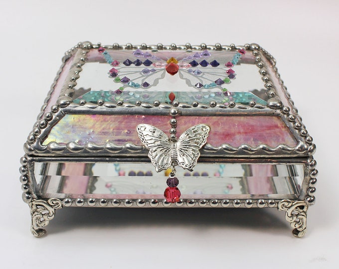Jewel Encrusted Treasure Jewelry Box, Stained Glass, Desk Accessory, Trinket Box, Butterfly, Vintage Glass Jewels, Swarovski Crystals