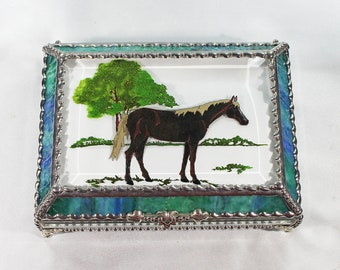 Horse, Equine, Hand Painted, Stained Glass, Keepsake Box,Jewelry Box, Faberge Style, Treasure Box