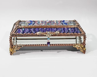 Jewel Encrusted Treasure Jewelry Box, Stained Glass, Desk Accessory, Trinket Box, Eye Glass Case, Vintage Glass Jewels, Swarovski Crystals