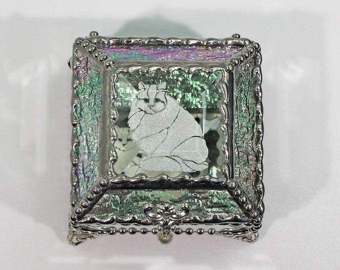 Etched Glass Feline Jewelry Treasure Box