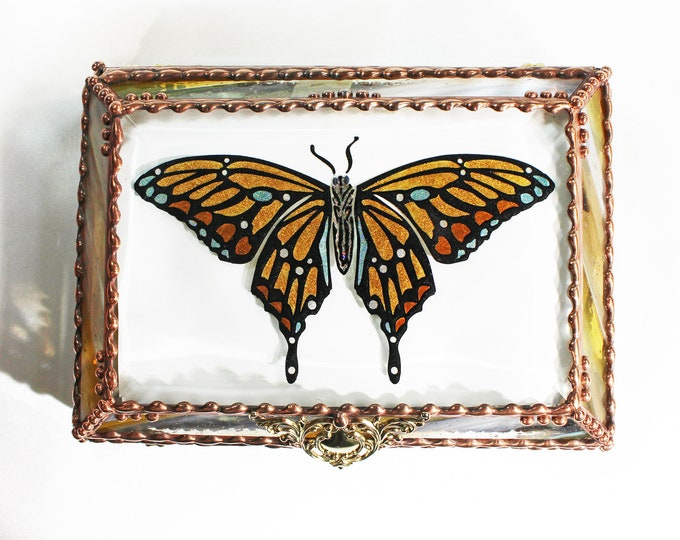 Butterfly, Jewelry Box, Monarch, Glass Art, Faberge Style, Beveled Glass, Stained Glass