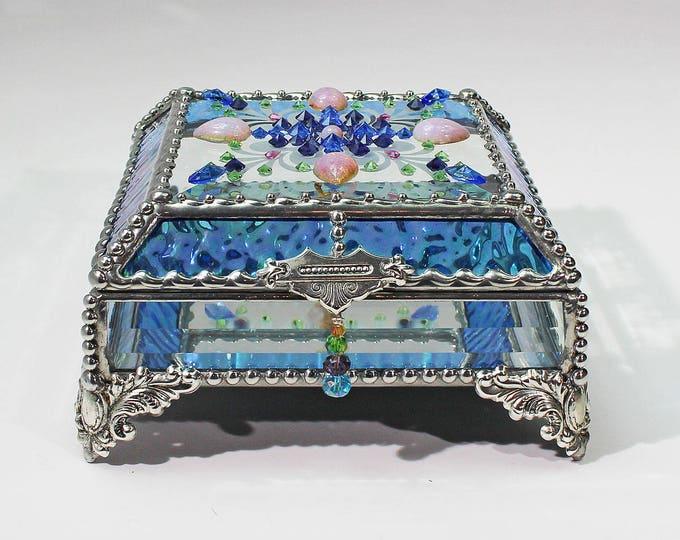 Jewel Encrusted 5x5, Jewelry Box, Treasure Box, Stained Glass Box, Trinket Box, Vintage Glass Jewels