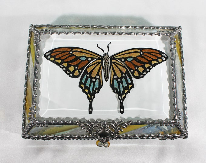 Butterfly,Butterfly Art, Monarch, Glass Art, Faberge Style, Beveled Glass, Art Glass, Hand painted
