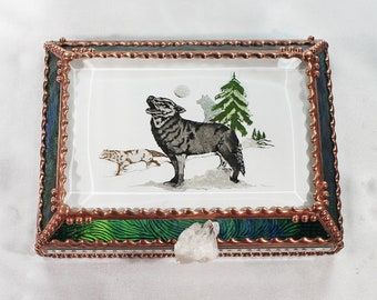 Wolf, Hand Painted, Stained Glass, Keepsake Box,Jewelry Box, Faberge Style, Treasure Box