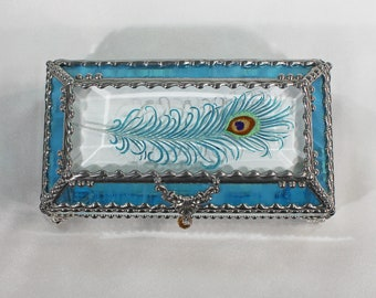 Peacock, Feather, Jewelry Box, EyeGlass Case , Jewelry Box, Glass Art, Beveled Glass, Faberge Style, Beveled Glass, Made in USA