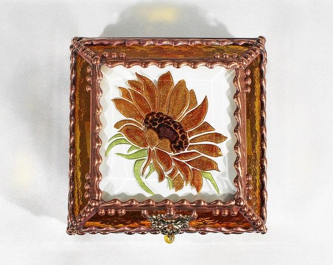 Sunflower, Glass Art, Faberge Style, Treasure Box, Flowers