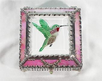 Hummingbird Jewelry Box, Faberge Style, Trinket Box, Columbine Stained Glass