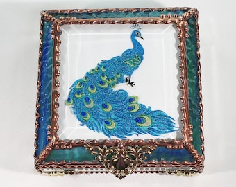 Peacock, Hand Painted, Stained Glass,  Box, Jewelry Box, Gift Box, Faberge Style, Trinket Box