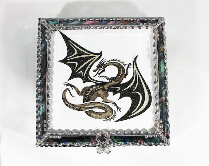 Featured listing image: Dragon, stained glass box, stained glass, display box, jewelry box, souvenir, trinket Box