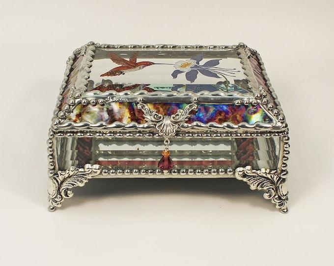 Hummingbird Columbine, Etched Hand Painted, Jewelry Box, Treasure Box, Trinket Box, Glass Box, Wildflower, Birds, Faberge Style