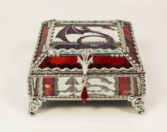 Celtic Dragon Glass Jewelry Box, Hand Painted, Trinket Box, Faberge Style, Gift Box, Glass Box