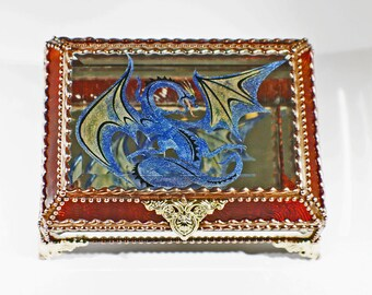 Etched Hand Painted Dragon Glass Jewelry Box