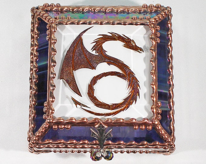 Dragon, Hand Painted, Stained Glass, Keepsake Box,Jewelry Box, Faberge Style, Treasure Box