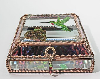 Etched, Hand Painted, Hummingbird, Nest, Jewelry Box, Stained Glass, Keepsake Box, Stained Glass Box