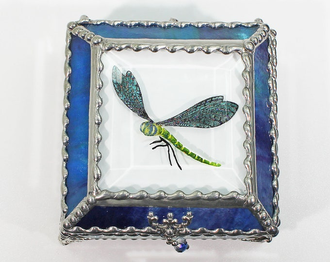 Dragonfly Etched Hand Painted Jewelry Display Trinket Faberge Style Box