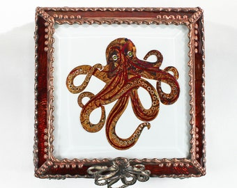 Octopus, Treasure Box, stained glass box, stained glass, display box, jewelry box, , souvenir, mystic