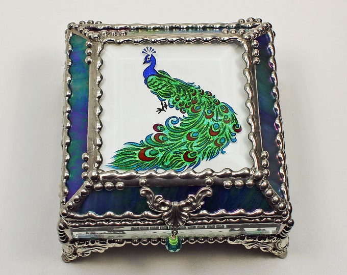 Peacock Hand Painted, Carved Glass, Jewelry Box, Glass Art, Beveled Glass, Faberge Style, Beveled Glass, Made in USA