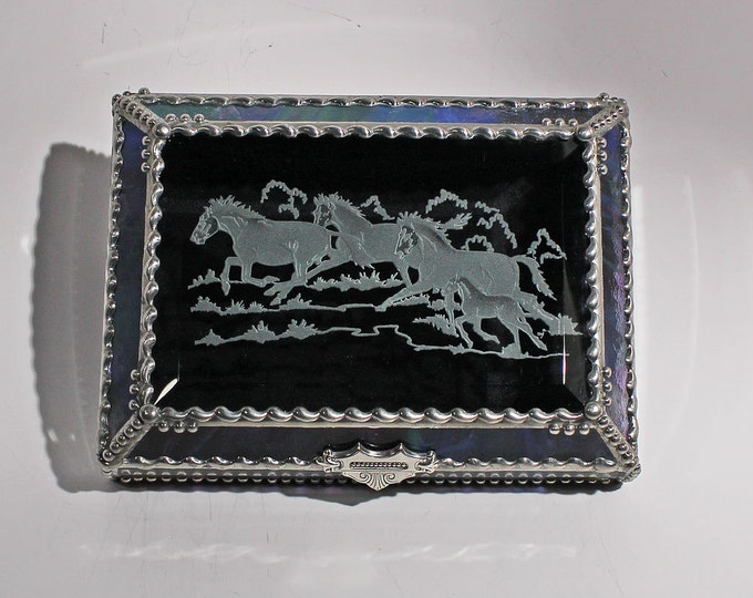 Etched  Equine Mustang - treasure Box