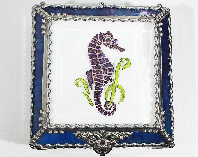 Seahorse Carved Glass Jewelry Box