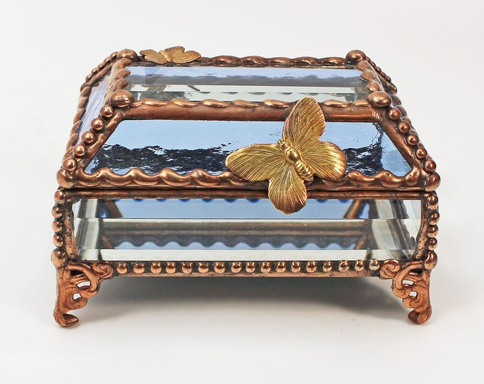 Butterfly copper Treasure Box, trinket box, jewelry box
