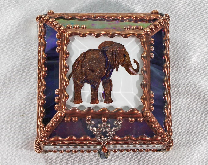 Elephant, Hand Painted, Stained Glass, Keepsake Box,Jewelry Box, Faberge Style, Treasure Box