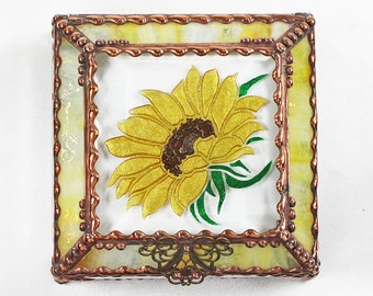 Sunflower, Stained Glass, Keepsake Box, Jewelry Box, Faberge Style, Treasure Box, Flowers