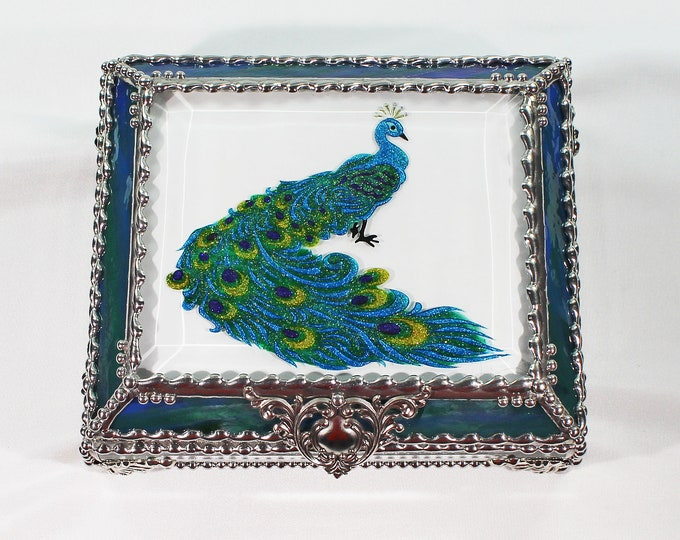 Peacock Jewelry Box, Hand Painted, Stained Glass Box, Jewelry Box, Glass Box, Faberge Style, Trinket Box, Peacock, Office Accessory
