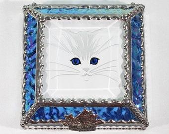 Kitten, Feline, cat, Hand Painted, Stained Glass, Keepsake Box,Jewelry Box, Faberge Style, Treasure Box