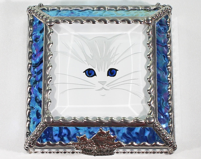 Kitten, Feline, cat, Hand Painted, Stained Glass, Keepsake Box,Jewelry Box, Faberge Style, Treasure Box