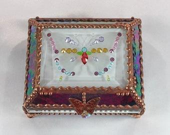 Jewel Encrusted Treasure Jewelry Box, Stained Glass, Desk Accessory, Trinket Box, Butterfly, Vintage Glass Jewels, Swarovski Crystals