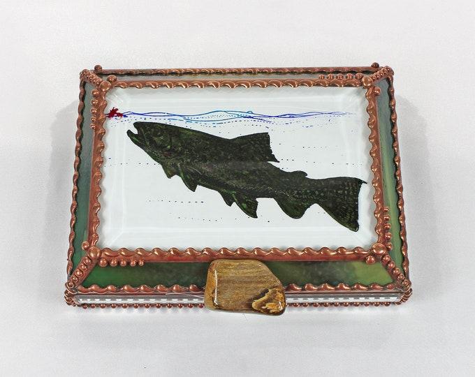 Trout, Jewelry Box , Trinket Box, Stained Glass