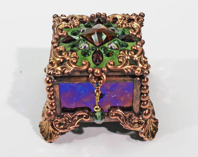 Jewel Encrusted Fairy Box, Ring Box, Swarovski Crystals, Stained Glass, Rosary Box, Made in the USA