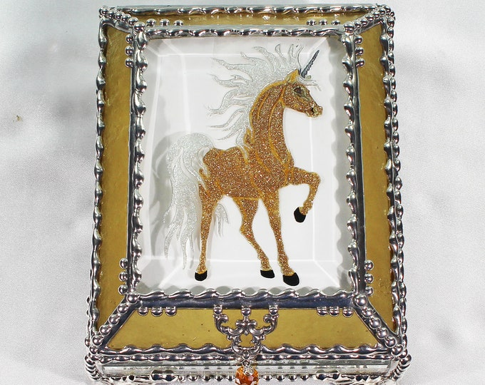 Unicorn, Horse, Equine, Treasure Box, stained glass box, stained glass, display box, jewelry box, , souvenir, mystic, Palomino