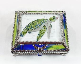 Sea Turtle, Glass Art, Turtle, Keepsake Box,Hand Painted, Faberge Style, Treasure Box