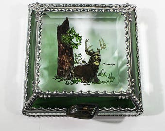 Etched Hand Painted Buck Deer Treasure Box