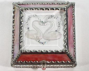 Swans, Hand Painted, Stained Glass, Keepsake Box,Jewelry Box, Faberge Style, Treasure Box