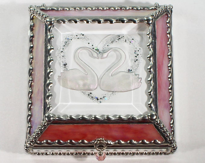 Swans, Hand Painted, Stained Glass, Keepsake Box,Jewelry Box, Faberge Style, Treasure Box