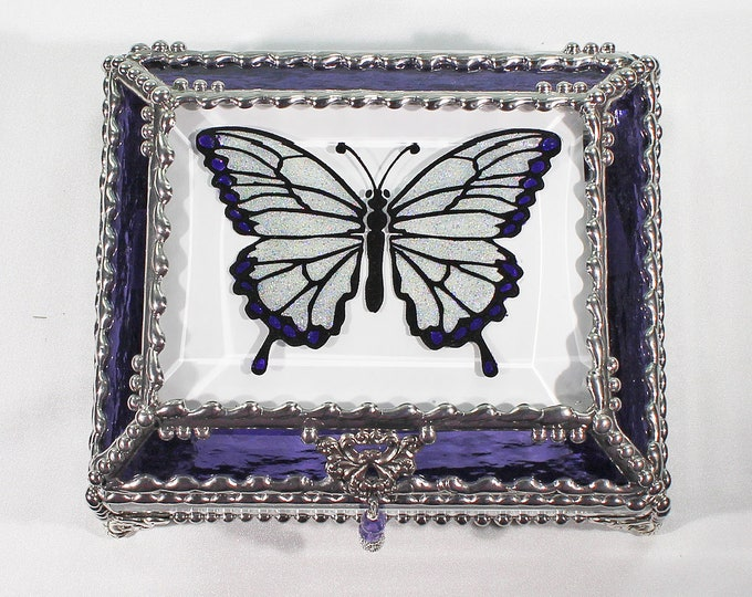 Butterfly, Treasure Box, stained glass box, stained glass, display box, jewelry box, , souvenir, mystic