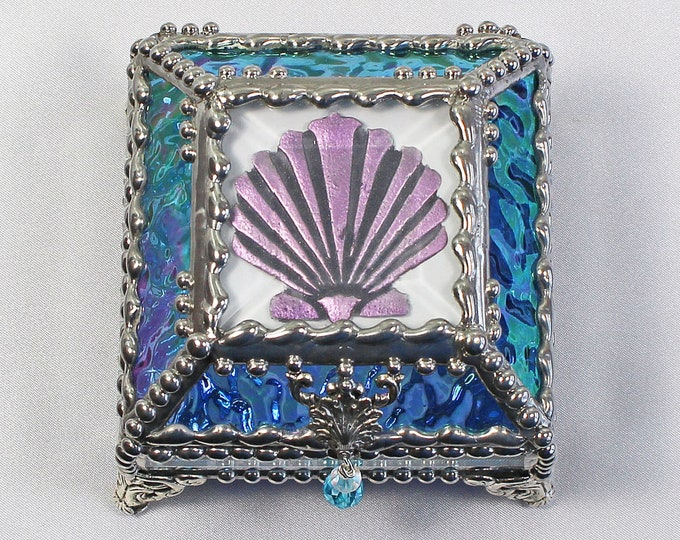 Sea Shell, Hand Painted, Stained Glass Box, Trinket Box, , Etched, Faberge Style