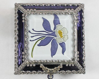 Columbine, Stained Glass, Keepsake Box, Jewelry Box, Faberge Style, Treasure Box, Flowers