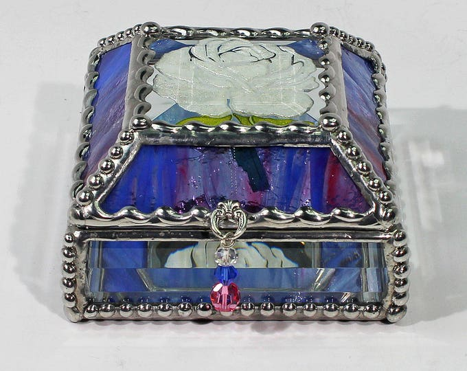 Etched, Hand Painted, Rose, Stained Glass, Beveled Glass, Keepsake Box,Jewelry Box, Faberge Style, Made in USA