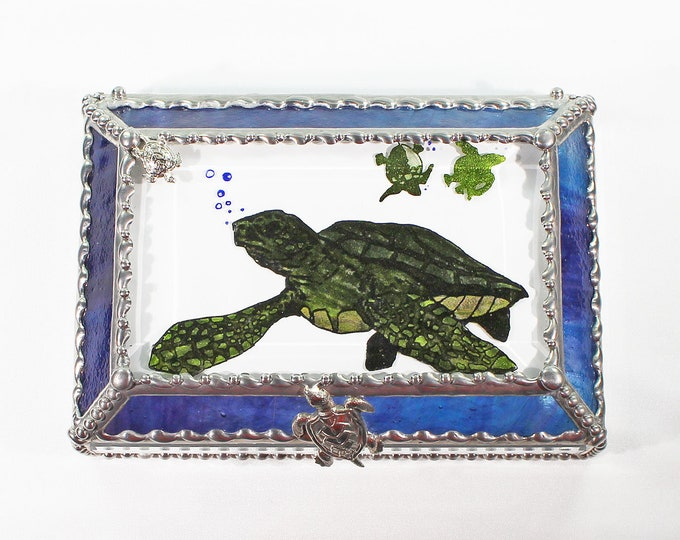Turtle, Hand Painted, Stained Glass, Keepsake Box,Jewelry Box, Faberge Style, Treasure Box