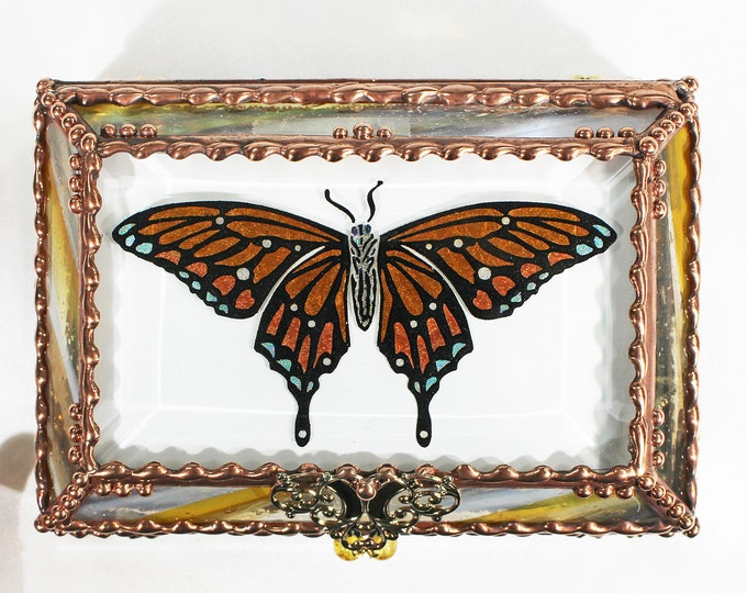 Featured listing image: Butterfly, Jewelry Box, Monarch, Glass Art,, Faberge Style, Beveled Glass, Stained Glass