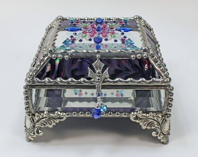 Jewel Encrusted,Treasure Box, Stained Glass, Bridal Gift, Stained Glass, Vintage Jewels, Swarovski Crystals, Made in USA, Faberge Style