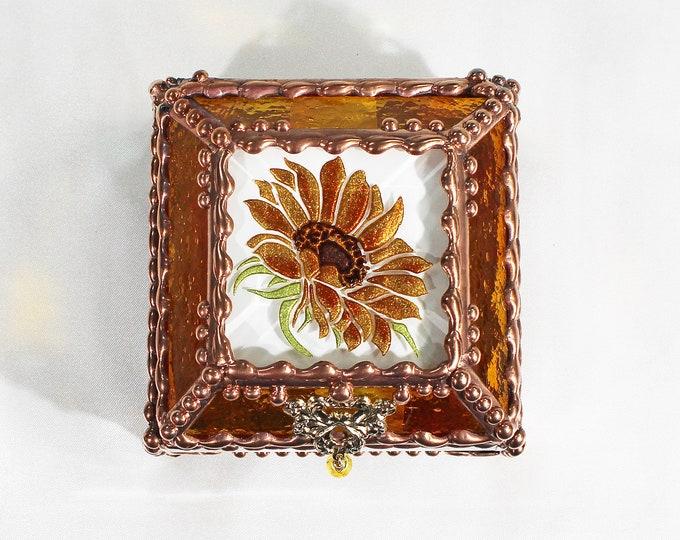 Sunflower,Stained Glass, Keepsake Box,Jewelry Box, Faberge Style, Treasure Box, Flowers